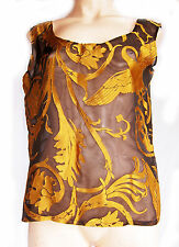 LADIES BLACK AND GOLD BOLD PATTERN SEMI_TRANSPARENT SLEEVELESS TOP- SIZE 12