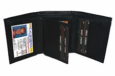 BLACK MEN'S LEATHER ID CREDIT CARD HOLDER PLAIN TRIFOLD WALLET CENTER FLAP  L24