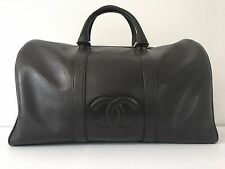 Authentic CHANEL Black Caviar Boston Bag  w/ dust bag and leather strap