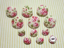 12 Antique Rose Fabric Covered Buttons