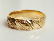 Antique Victorian 18ct Gold Engraved Wedding Ring c1883 by Barnet Henry Joseph