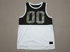 "ON THE BYAS PAC SUN MENS BLACK & WHITE AZTEC ""00"" GRAPHIC JERSEY TANK TOP LARGE"