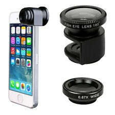 New 3 in 1 Wide Angle Fisheye Macro Snap On Camera Lens Tool Kit For iPhone 5 5S