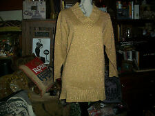 DIANE VON FURSTENBERG Color Authority Lovely Gold Metallic Knit Sweater Size M