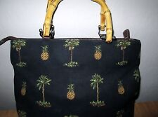 RELIC Black Tropical Purse Handbag Pineapple & Palm trees Bamboo Handle