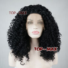 18 Inches Women Girls Curly Long Heat Resistant Black Lace Front Hair Full Wig