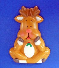 Apollo MAGNET Christmas REINDEER Sitting Vtg Holiday Refrigerator Fridge