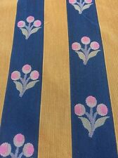 Woven Upholstery Fabric Cherry Stripe Cobalt Blue Pink And Gold 4 Yards