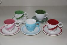 STARBUCKS 2005 & 2007 - COLLECTION OF FIVE ESPRESSO CUPS / DEMI TASSES & SAUCERS