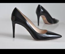 NEW Auth Prada Patent Black Pointed Toe Pumps Shoes Heels 9-9.5 us / 40 Eur