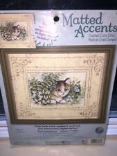 Dimensions Matted Accents ~ Counted Cross Stitch Kit KITTEN AND BUTTERFLY