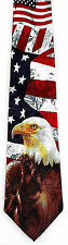 Majestic Bald Eagle Mens Necktie Fourth 4th July US Flag Patriotic Gift Tie New