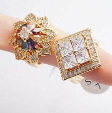 Wholesale 2Pcs/Lot Square Teardrop Round Cubic Zircon Gold Plated Rings Size 7