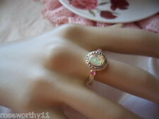 Antique Vintage 9ct Gold Opal Ring with Rubies size 9 gold stamped 375