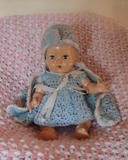 "BND London Babykins doll. 9-10"". Lovely knitted ensemble."