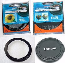 Filter Adapter FA-DC67A + UV + CPL + Front Lens Cap For  Canon SX50 HS SX50HS