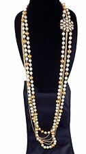 Pearl and Gold Beaded Long Body Chain Necklace with Pendant Broach Gatsby