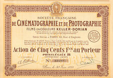 Societe Cinematographie et de Photographie Keller-Dorian SA, accion, Paris, 1929