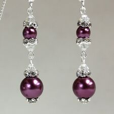Burgundy pearls crystals vintage silver long drop wedding bridesmaid earrings