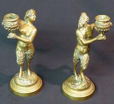 1820 superbe paire statues bougeoirs bronze doré Faune Bacchus Sathyr 21cm2,6kg