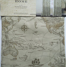 Max Studio WORLD MAP (2) WINDOW PANEL CURTAINS Drapes TAUPE TAN 50x96 Tab COTTON