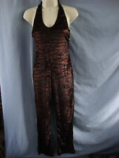 BLACK - BROWN PATTERN HALTER NECK CAT SUIT - DRESS CODE - SIZE 10