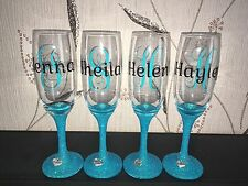 Set of 4 Personalised Wedding Champagne Flutes or Wine Glasses
