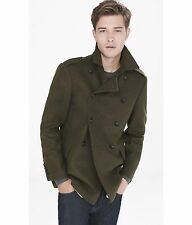 MEN'S EXPRESS NEW DOUBLE BREASTED WOOL BLEND MILITARY PEACOAT COAT GREEN LARGE