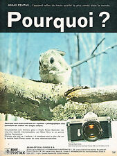 PUBLICITE ADVERTISING 065  1970  ASAHI PENTAX appareil photo SPOTMATIC  K. TANAK