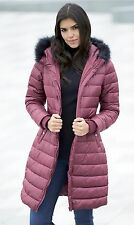Be You Longline Padded Jacket coat winter With Faux Fur Trim burgundy UK 14
