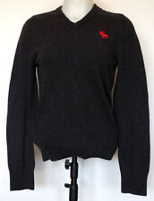 Abercrombie & Fitch Muscle Fit Dark Gray V-Neck Cotton Cashmere Moose Sweater S
