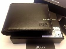 MEN'S DESIGNER HUGO BOSS AREZZO-50128297 TRIFOLD BLACK COIN POCKET WALLET