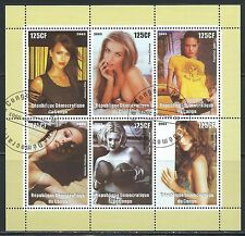 Movie Stars, Super Models 6 Stamp Souvenier Sheet - From Republic of Congo