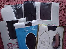 Job Lot of 7 Pairs Retro 80's Sheer Patterned Tights BLACK, WHITE & BARELY BLACK