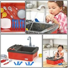 Splash Sink Stove Kids Real Working Faucet Drain Water Play Kitchen Fun Toy New