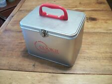 "Cookie Tin - Silver Metal Suitcase style box with red handle 7"" w x 5.5"" h x 5""d"
