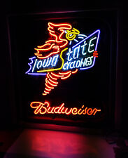 22''x20'' Iowa State Cyclones Budweiser Beer Bar Neon Sign Light Real Glass