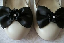 BLACK SATIN BOW RIBBON FLOWER SHOE CLIPS 40s 50s VINTAGE STYLE GLAMOUR BOWS