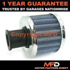 CAR MOTORCYCLE QUAD BIKE 18MM BLUE CHROME ROUND CRANK ENGINE BREATHER FILTER