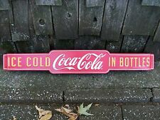 Coke Coca-Cola Screen Door Push Pull Bar Advertising Sign Gas Store Mancave