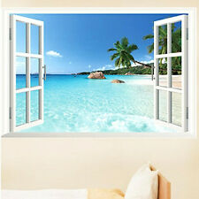 Beach Sea Removable 3D Window Scenery Wall Sticker home Decor room Decals sale