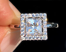 1 ct Princess Halo Ring Top Russian Quality CZ Simulated Mossanite Imitation 6