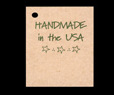 50 *HANDMADE IN THE USA* HANG TAGS PERSONALIZE ITEMS PRICE CRAFTS PATRIOTIC GIFT