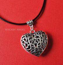 Corazón De Plata Antigua PLT Filagree hinchado en Collar de Cuero Real, Damas Regalo