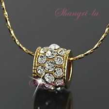 18K Yellow GOLD Plate Clear LUCKY RINGS PENDANT NECKLACE Swarovski CRYSTAL L176