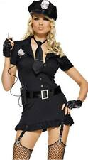 Sexy Women Black Police Cop Costume Halloween Cosplay Fancy Dress Up Outfit