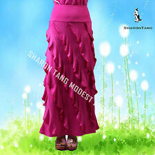 SHARON TANG Modest Apparel Long Pink Stretch Knit Layer Pipe Edge Maxi Skirt M