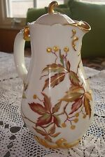 ANTIQUE HAVILAND LIMOGES HANDPAINTED CHOCOLATE / COFFEE / TEA POT, LEAVES &GOLD