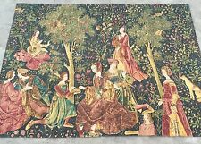 """Antique french aubusson print tapestry wall hanging 55"""" par 70"""""""