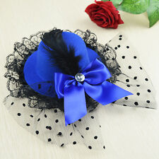 Women Bow Hair Clip Lace Feather Mini Top Hat Fascinator Fancy Party T